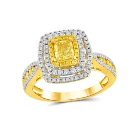 1.25 CT. T.W. Yellow and White Diamond Fashion Ring in 14K Yellow Gold
