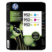 HP 952XL (N9K30BN) High-Yield Cyan, Magenta, Yellow Original Ink Cartridges, 3/Pk