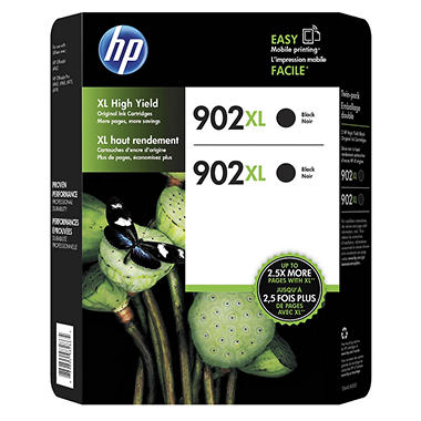 HP 902XL High-Yield Original Ink Cartridge, Black (2 pk.)
