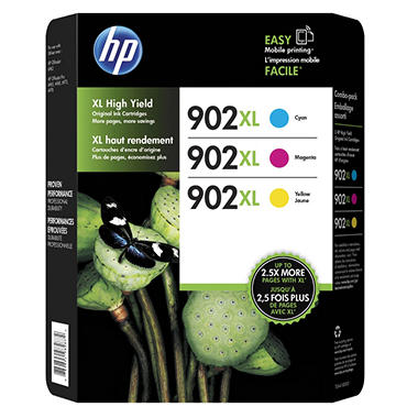 HP 902XL High-Yield Cyan, Magenta, Yellow Original Ink Cartridge, 3/Pk