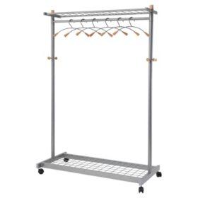 Alba 2-Shelf Garment Rack, Mahogany (6 Hangers/Hooks)