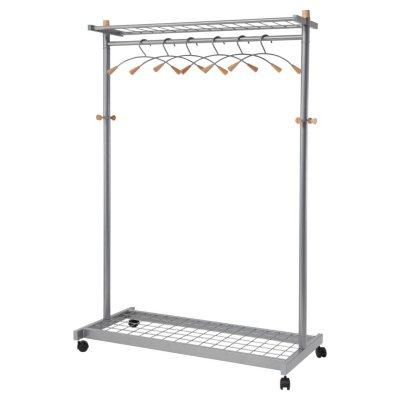 Alba 2 Shelf Garment Rack, Mahogany (6 Hangers/Hooks)
