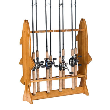 Floor Fishing Rod Rack with Oak Finish,16 capacity