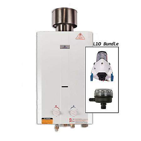 Eccotemp L10 Portable Outdoor Tankless Water Heater with EccoFlo Pump, Strainer, and Shower Set