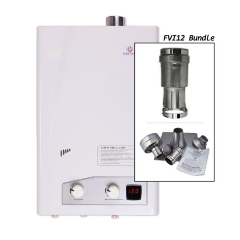 Eccotemp FVI12 3.5 GPM Indoor Liquid Propane Tankless Water Heater Vertical Bundle