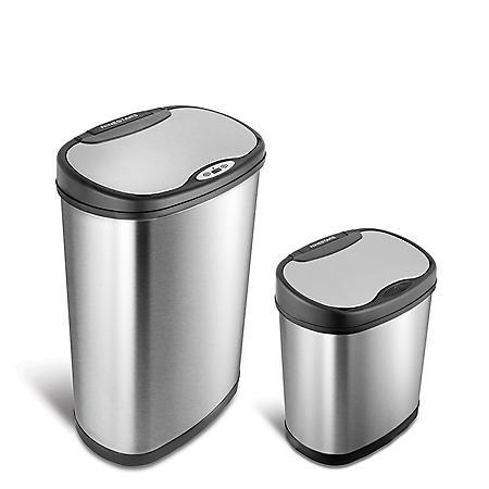 Nine Stars Combo Sensor Trash Can, Stainless Steel  (13.2 gal / 3.2 gal)