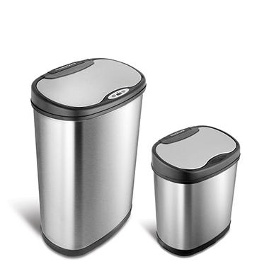 Nine Stars Sensor Trash Can Combo, Stainless Steel (13 gal + 3.2 gal)