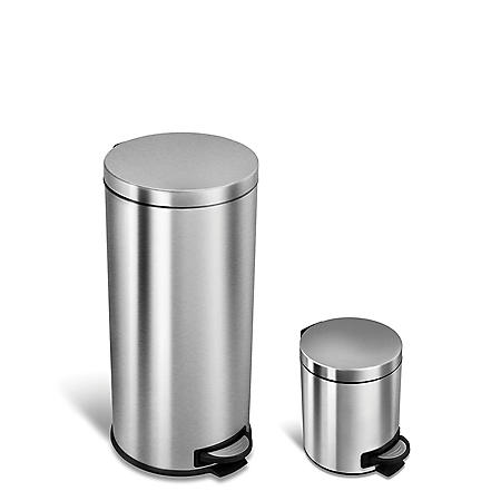 Nine Stars Combo 7.9 and 1.3 Gallon Step On Trash Can, Stainless Steel