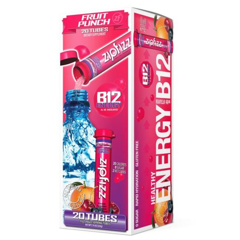 Zipfizz Energy Drink Mix, Fruit Punch (20 ct)