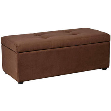 Dark Brown Microfiber Bench Storage Ottoman