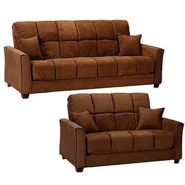 Baja Microfiber Sofa And Loveseat Set   Dark Brown