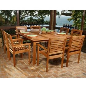 Lido Outdoor Indoor Square Table Set 9 Pc