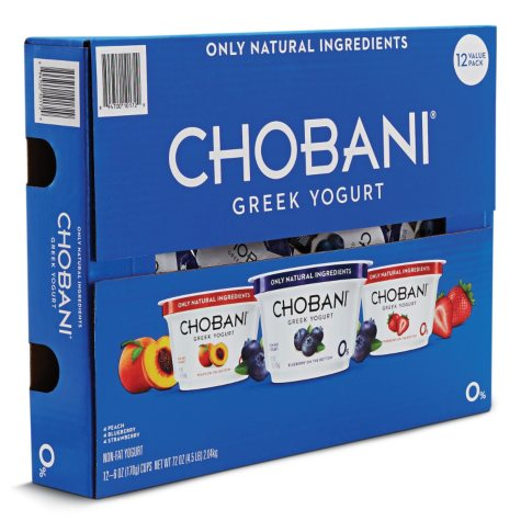 Chobani Nonfat Greet Yogurt Variety Pack (6 oz. ea., 12 ct.)