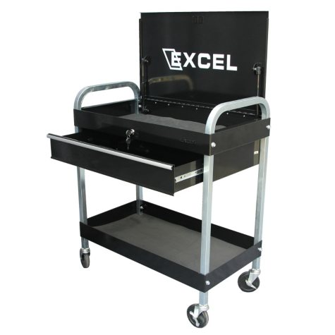 Excel Black Steel Tool Cart