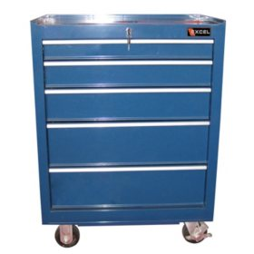 "Excel Blue Steel Roller Cabinet 26.6"" W x 18.1"" D x 36.3"" H"
