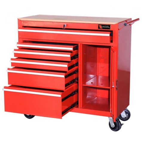 "Excel Heavy Duty Roller Cabinet with Slide Drawers 40.7"" x 18"" x 41.4"" - Multiple Colors"