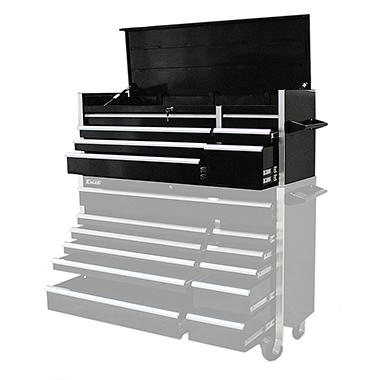 Excel Black Heavy Duty Roller Cabinet with 7 Slide Drawers 55.6
