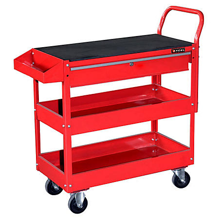 Excel Steel Tool Cart with Rubber Work Surface - Multiple Colors