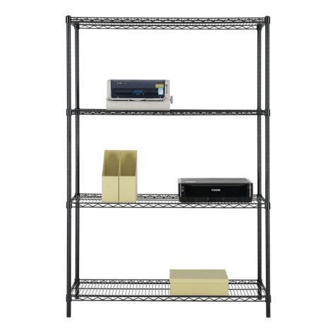 """Excel NSF-Certified Heavy-Duty 4-Level Wire Shelving - 48"""" x 72"""" x18"""" (Chrome or Black)"""