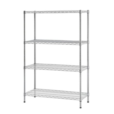 """Excel 4-Level Wire Shelving - Chrome (48"""" W x 60"""" H x 18"""" D)"""
