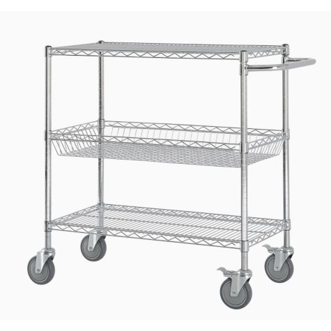 """Excel Commercial Grade Wire Cart - 36"""" W x 40"""" H x 18"""" D (Chrome or Black)"""