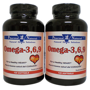 Pharma Natural Omega 3-6-9 - 1000MG Softgels - 120 ct. - Twin Pack