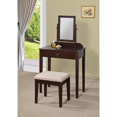 Madeley Swivel Mirror Vanity Table And Stool   Espresso