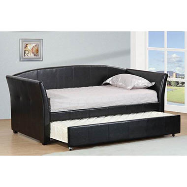 espresso leatherette twin daybed with twin trundle espresso leatherette twin daybed with twin trundle   sam u0027s club  rh   samsclub