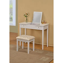 Lydney Flip Open Mirror Vanity Table and Stool - White