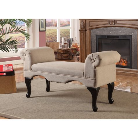 Crawley Curled Arm Bench - Beige Linen Fabric
