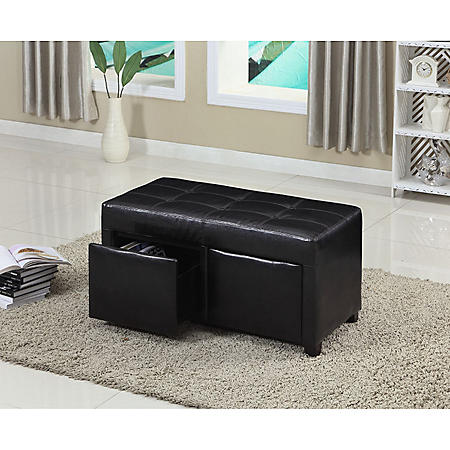 BENCH WITH DRAWERS LEATHERETTE