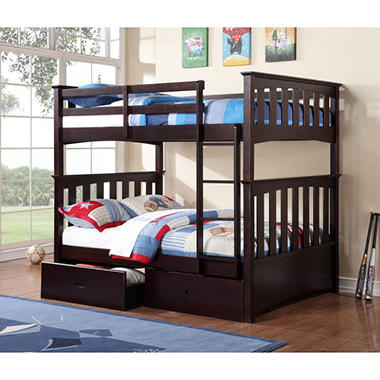 Newbury Pinewood Espresso Finish Full-over-Full Bunkbeds with Storage Drawers