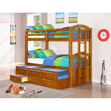 Northfold Twin-OverTwin Bunk Bed with Trundle and Storage Drawers - Oak