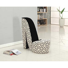 Panache Velvet Fabric Black and White Shoe Shaped Chair
