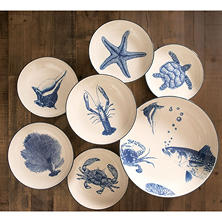 Nautical-Themed 7-Piece Stoneware Serving Bowl Set