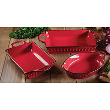 3-Piece Fluted Bakeware Set (Assorted Colors)