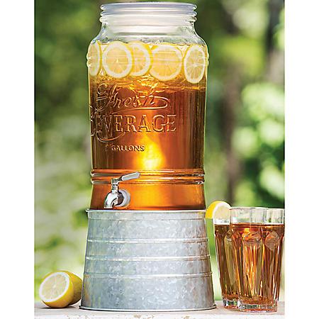 2 Gallon Glass Beverage Dispenser with Galvanized Steel Base