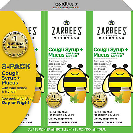 Zarbee's Natural Children's Cough Syrup + Mucus Day & Night (12 oz.)