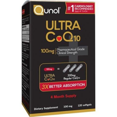 Qunol Ultra 100% Natural COQ10 100mg Softgels (120 ct.)