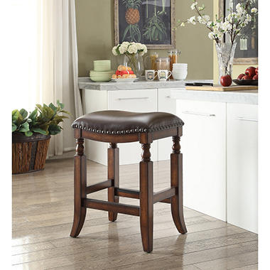 ashton topgrain leather seat bar stool