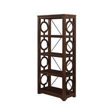Hoskins, Solid Wood/Metal 4-Shelf Bookcase, Cherry Finish