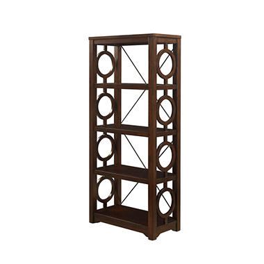 Hoskins Solid Wood/Metal 4-Shelf Bookcase, Cherry Finish