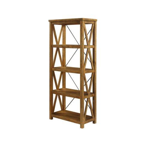 Anderson Solid Wood/Metal 4-Shelf Bookcase, Alder Finish