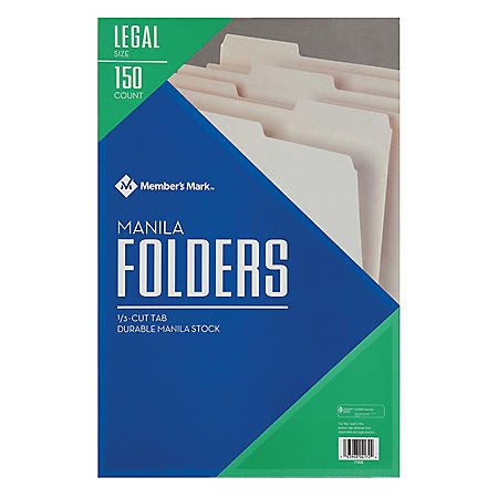 Member's Mark Manila File Folders, Legal, 150/BX