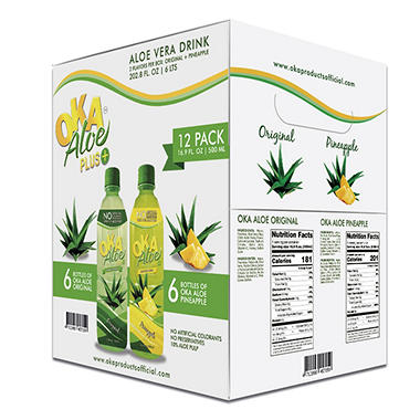 OKA Aloe Original-Pineapple (16.9 oz. bottles, 12 pk.)