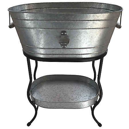 Giftburg Oblong Galvanized Party Bucket With Stand Sam S