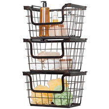 Giftburg Wrought-Iron Wire Baskets, Set of 3
