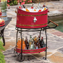 Copper Band Beverage Tub with Rolling Stand (Assorted Colors)