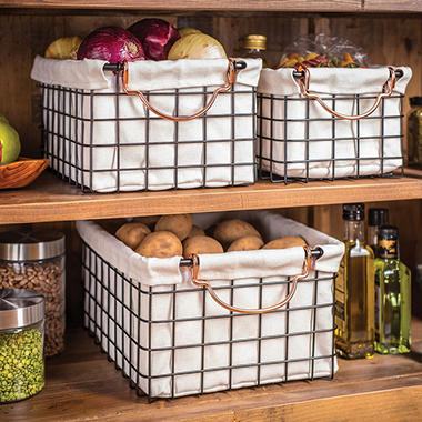 Wire Storage Baskets With Natural Linen Liners, Set Of 3