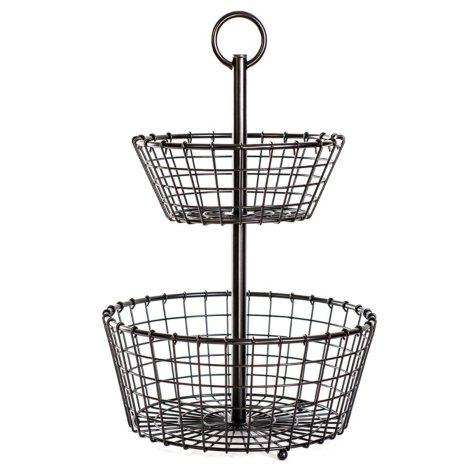 Two-Tier Metal Storage Basket